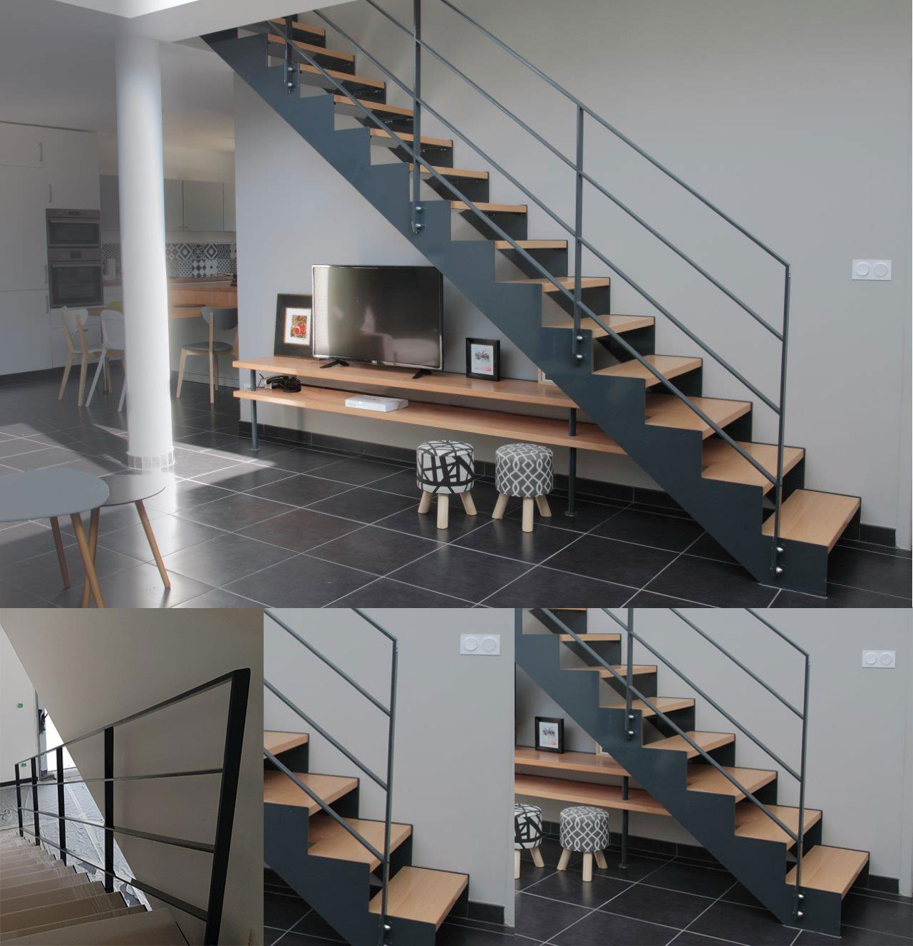 escalier droit avec limons cr maill res en m tal mb. Black Bedroom Furniture Sets. Home Design Ideas