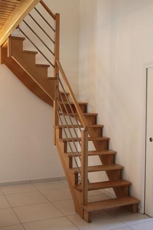 Escalier 1/4 tournant sans contremarches